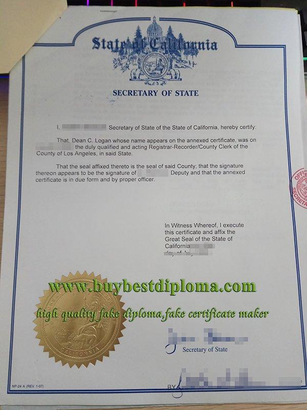 fake california apostille, fake california authentication,