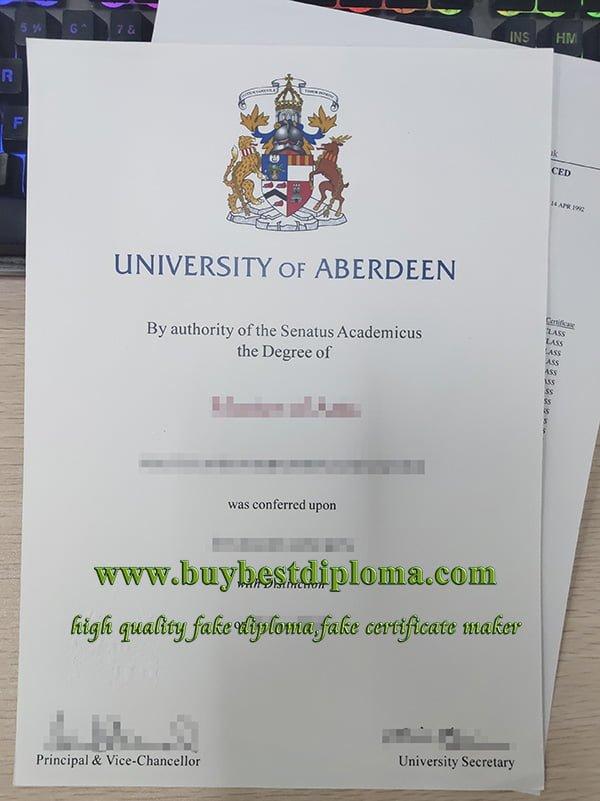 University of Aberdeen degree, University of Aberdeen transcript, fake Scotland university degree,