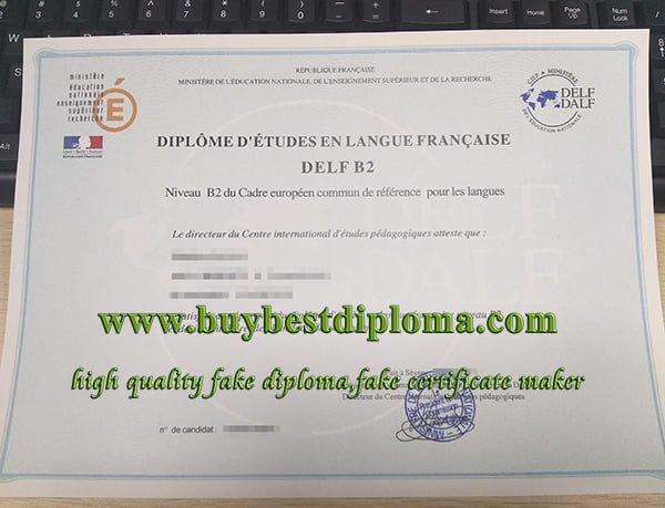 fake DELF B2 certificate, DELF DALF certificate, B2 French diploma,