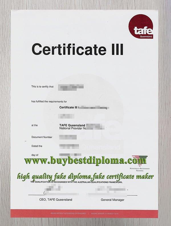 TAFE Queensland certificate, TAFE certificate,