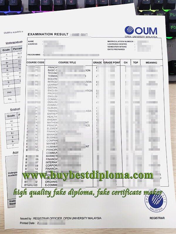 Open University Malaysia transcript, fake OUM transcript, fake OUM diploma,