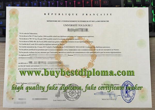 Université de Toulouse II diploma, Universite Toulouse 2 diploma, Université de Toulouse degree,