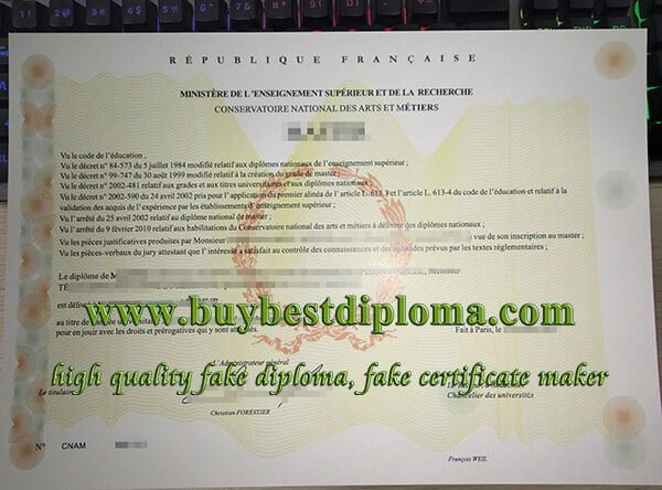 CNAM diploma, National Conservatory Of Arts And Crafts diploma, conservatoire national des arts et metiers diploma,