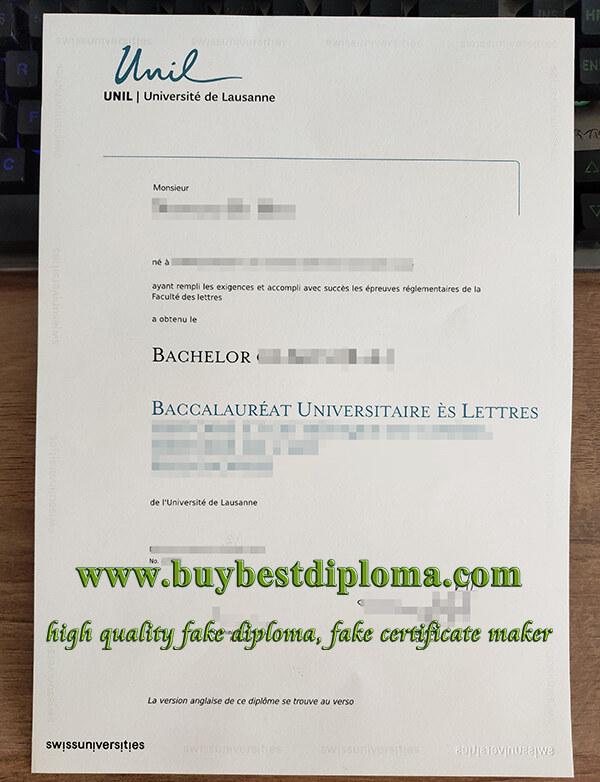 University of Lausanne diploma, Universite de Lausanne diploma, fake UNIL diploma,
