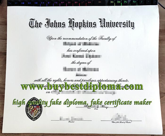 Johns Hopkins University diploma, Johns Hopkins University degree, fake JHU diploma,