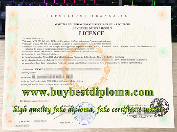 Université de Strasbourg licence, University of Strasbourg diploma, fake French licence,