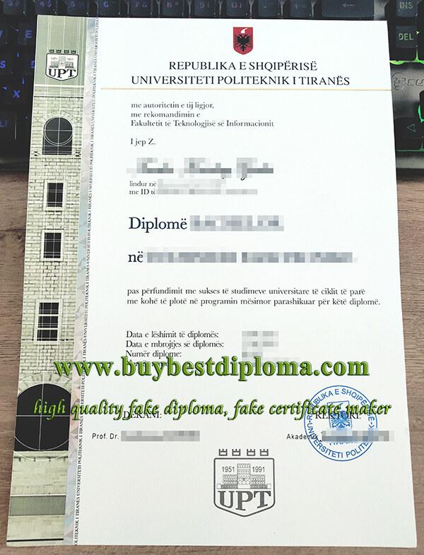 Polytechnic University of Tirana diploma, Universiteti Politeknik i Tiranes diplome, fake UPT diploma,