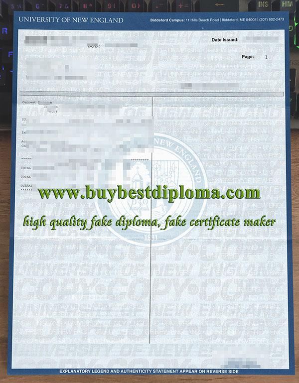 University of New England transcript, University of New England diploma, fake UNE transcript,