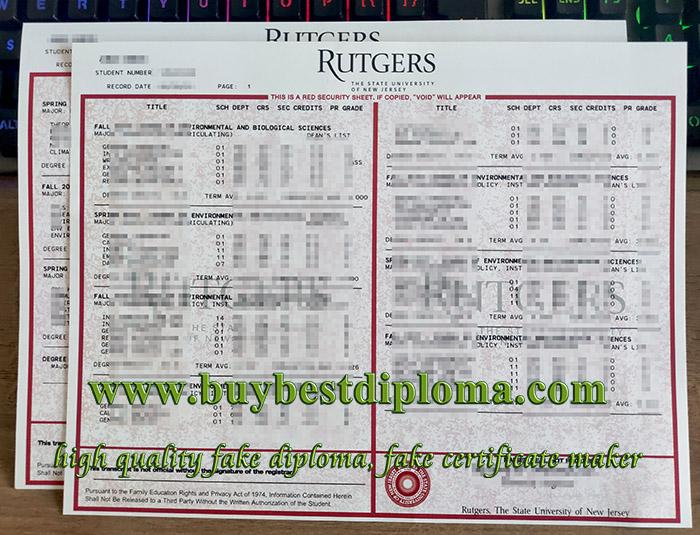 Rutgers University transcript, Rutgers University diploma, fake transcript,