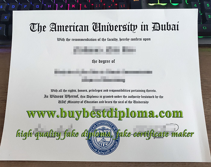 American University in Dubai diploma, American University in Dubai degree, fake AUD diploma,