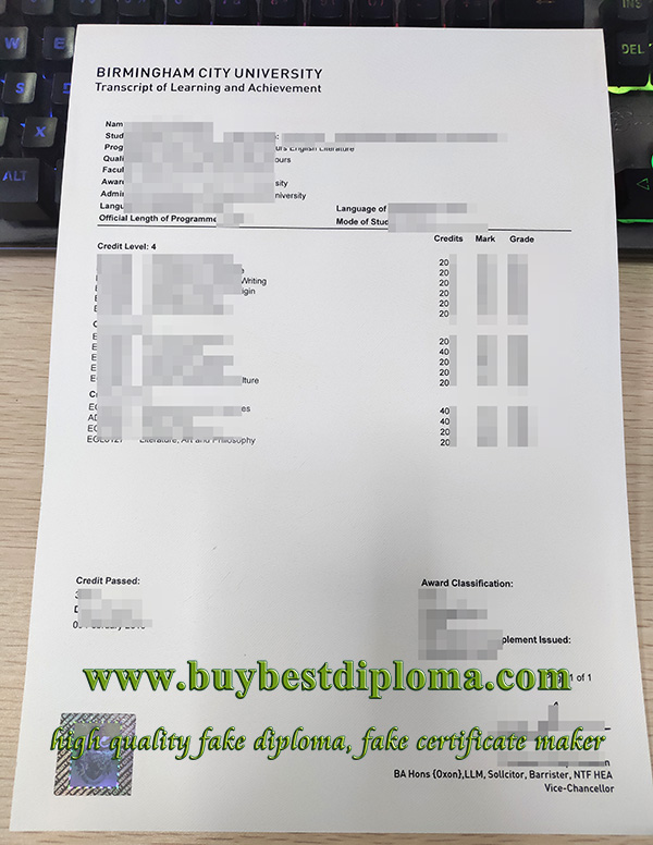 fake Birmingham City University transcript, fake BCU transcript, fake transcript,