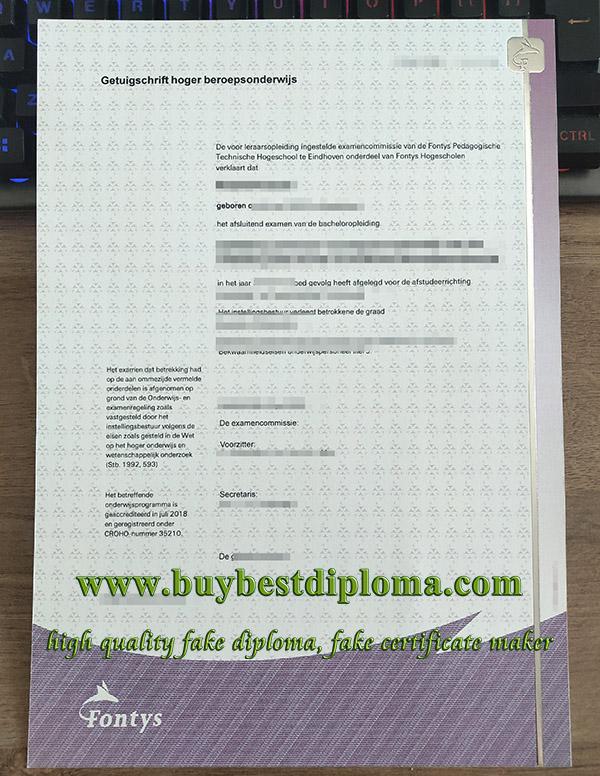 Fontys University diploma, Fontys University of Applied Sciences degree, fake Netherlands diploma,