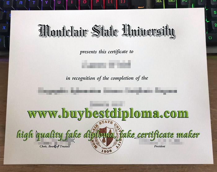 Montclair State University diploma, Montclair State University certificate, fake MSU diploma,