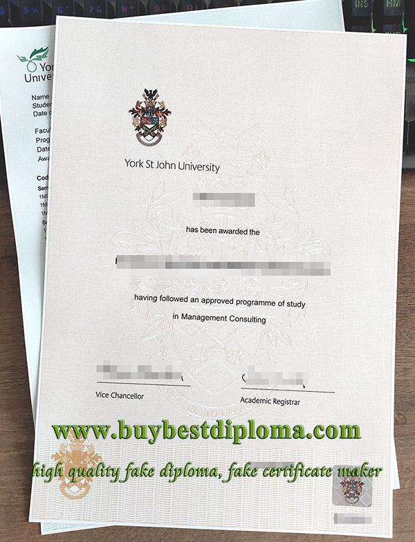 York St John University degree, York St John University transcript, York St John University diploma