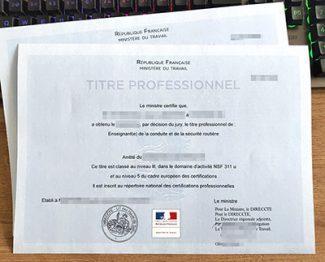 titre professionnel certificate, titre professionnel diploma, fake France certificate,