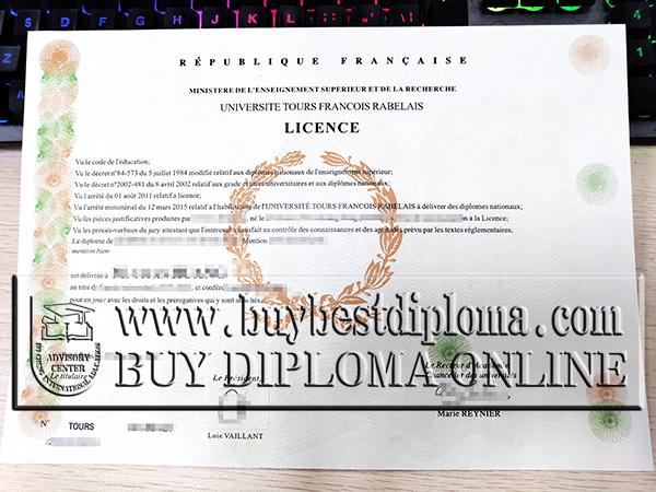 Université François Rabelais licence, fake University of Tours diploma, fake French diploma,