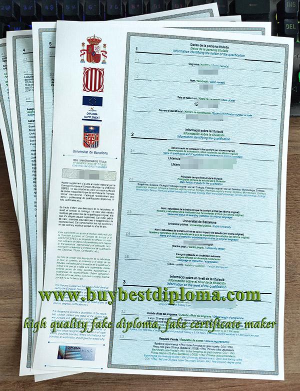 fake University of Barcelona transcript, fake University of Barcelona diploma, fake Spanish transcript,