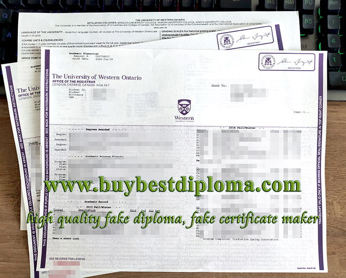 University of Western Ontario transcript, fake UWO transcript, University of Western Ontario diploma,