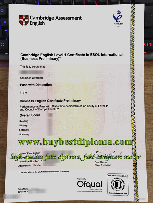Cambridge Business Preliminary certificate, fake BEC Preliminary certificate, Cambridge English certificate,