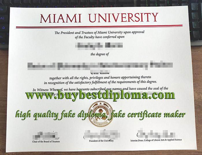 Miami University diploma, fake Miami University degree, Miami University certificate,