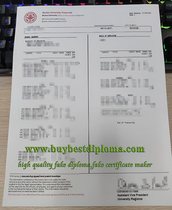 Boston University transcript, Boston University diploma, fake Boston University certificate,