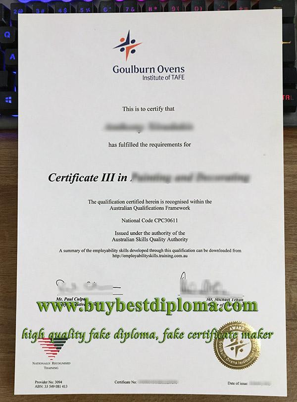 Goulburn Ovens Institute of TAFE certificate, fake GOTAFE certificate, GOTAFE diploma,