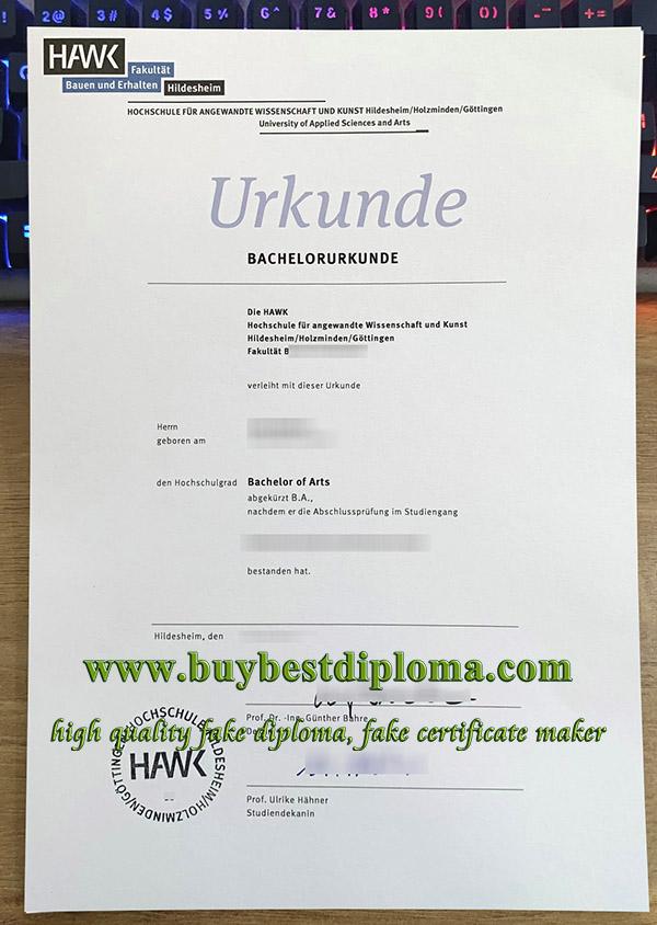 HAWK Hochschule urkunde, HAWK University diploma, HAWK Hochschule certificate,