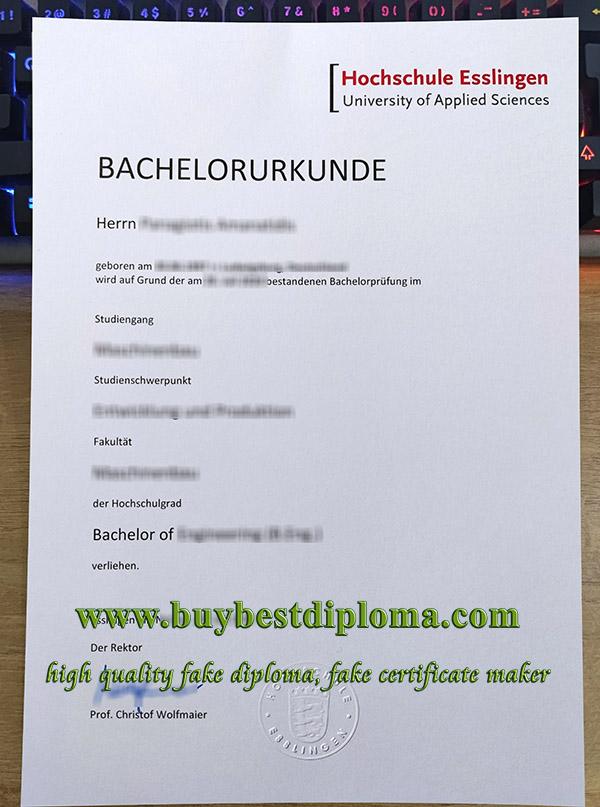 Hochschule Esslingen urkunde, Hochschule Esslingen certificate, Esslingen University diploma,