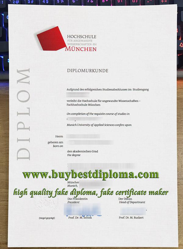 Hochschule für angewandte München urkunde, Hochschule München certificate, fake Munich University diploma,