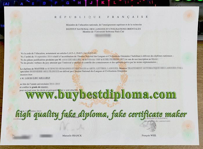 Institut National des Langues diploma, Institut National des Langues licence, fake INALCO diploma,