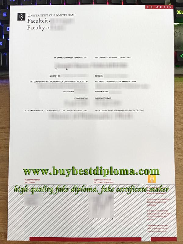 University of Amsterdam diploma, Universiteit Van Amsterdam diploma, University of Amsterdam certificate,