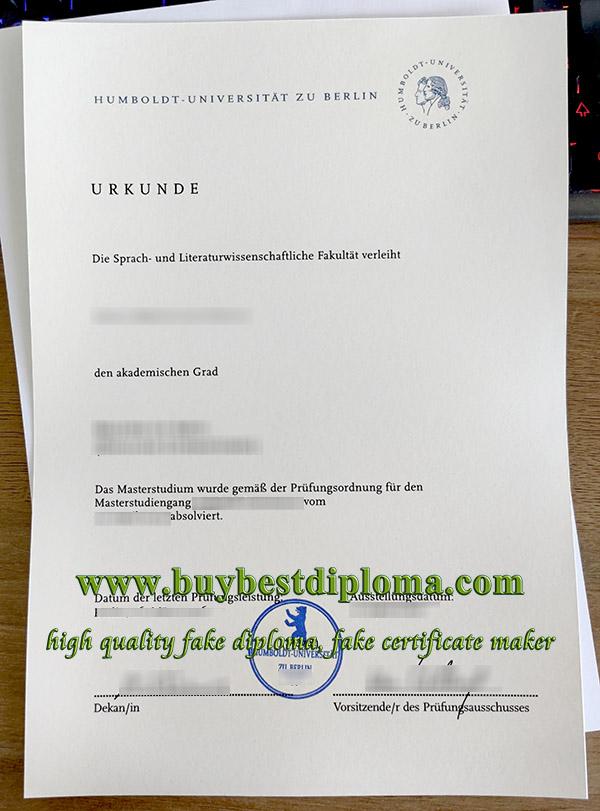 Humboldt-Universität zu Berlin urkunde, Humboldt University of Berlin diploma, fake HU Berlin diploma,