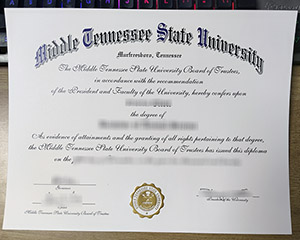 Middle Tennessee State University diploma, fake MTSU diploma, Middle Tennessee State University certificate,