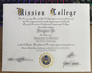 Mission College diploma, Mission College degree, Mission College certificate, 洛杉矶使命学院证书