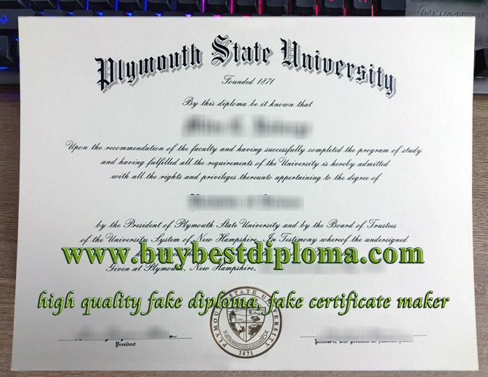 Plymouth State University diploma, Plymouth State University degree, fake PSU certificate,