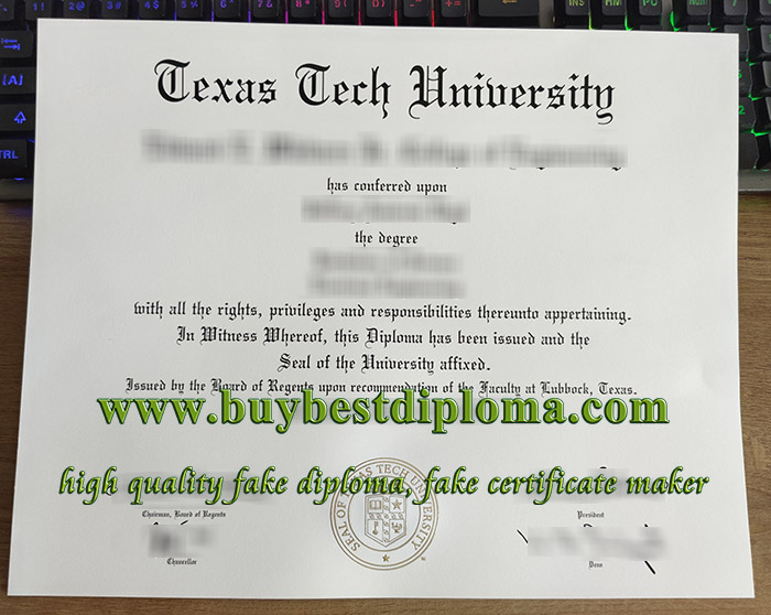 Texas Tech University diploma, Texas Tech University degree, fake Texas Tech University certificate, 克萨斯理工大学文凭,