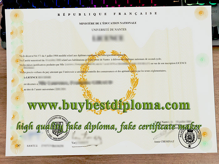 Université de Nantes diploma, Université de Nantes licence, fake University of Nantes certificate,