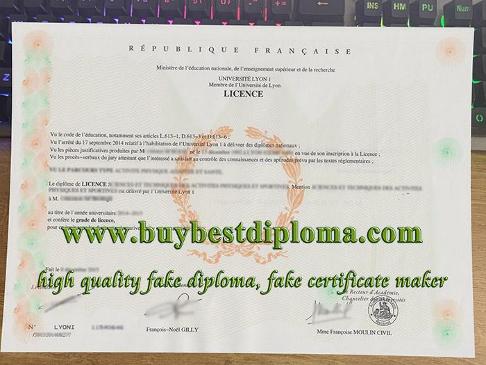 Université Lyon 1 licence, Université Lyon 1 diploma, fake University Lyon 1 certificate,