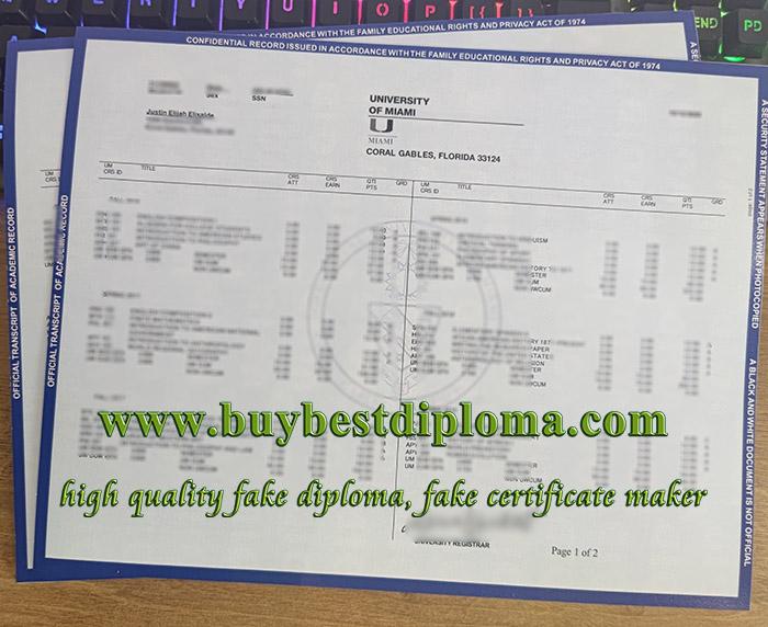 University of Miami transcript, University of Miami exam result, fake University of Miami certificate,