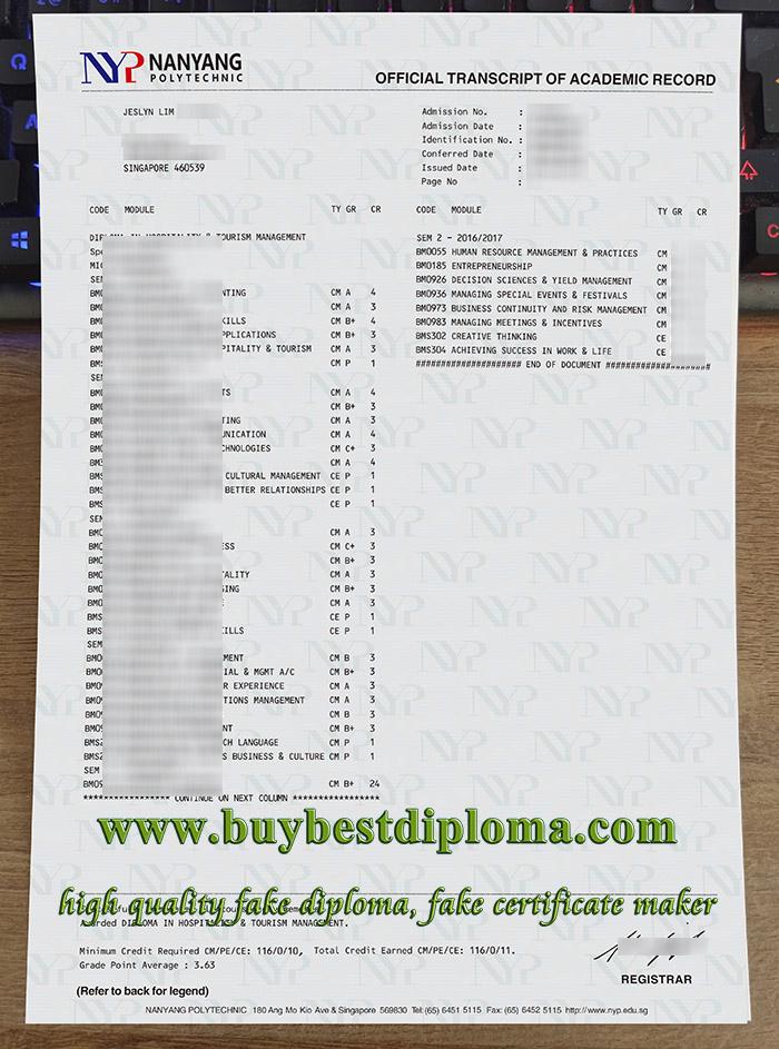 Nanyang Polytechnic transcript, Nanyang Polytechnic certificate, fake NYP certificate, 南洋理工学院成绩单,