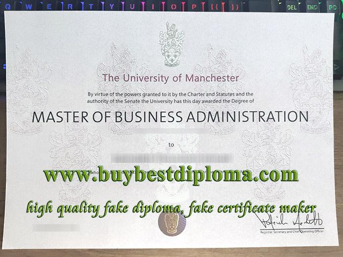 University of Manchester MBA degree, fake MBA degree, University of Manchester certificate, 工商管理硕士证书,