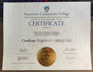 Vancouver Community College diploma, Vancouver Community College certificate, 温哥华社区学院证书,