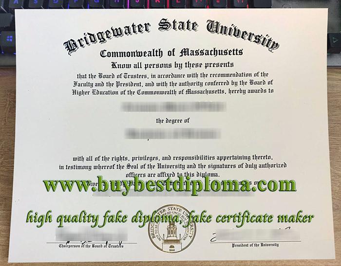 Bridgewater State University diploma, Bridgewater State University degree, Bridgewater State University certificate, 布里奇沃特州立大学证书,