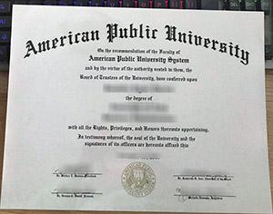 American Public University diploma, American Public University degree, American Public University certificate,