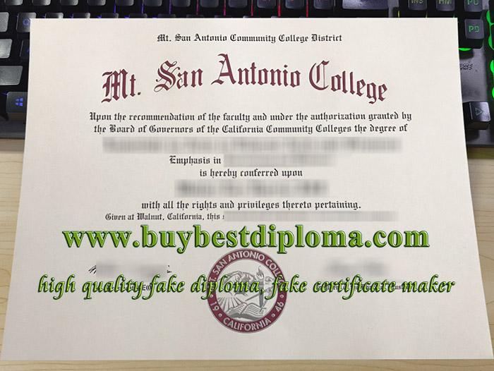 Mt. San Antonio College diploma, Mt San Antonio College certificate, Mt. San Antonio College degree, fake Mt. SAC diploma,
