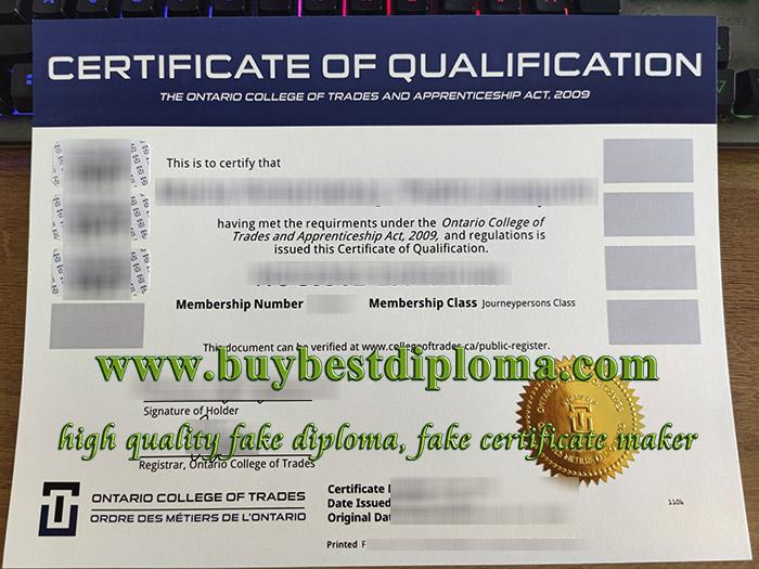 Ontario College of Trades diploma, Ontario College of Trades certificate, fake Canada certificate,