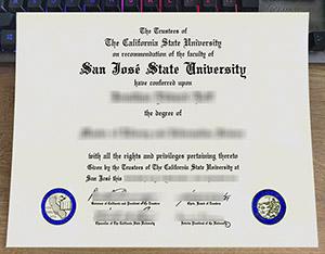 San Jose State University diploma, San Jose State University degree, fake SJSU diploma, 圣何塞州立大学文凭,