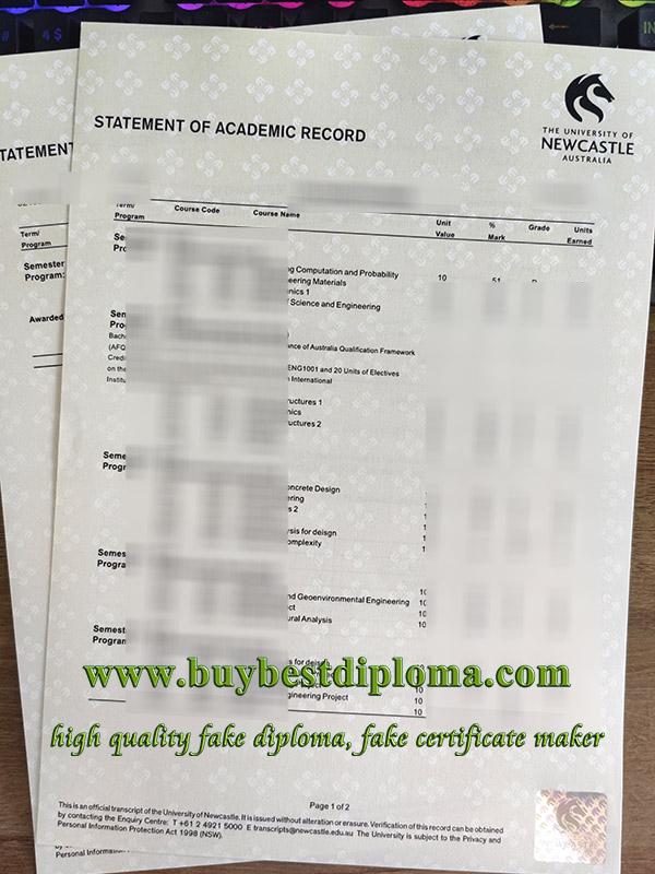 University of Newcastle transcript, University of Newcastle Australia certificate, University of Newcastle diploma, 澳洲纽卡斯尔大学成绩单,